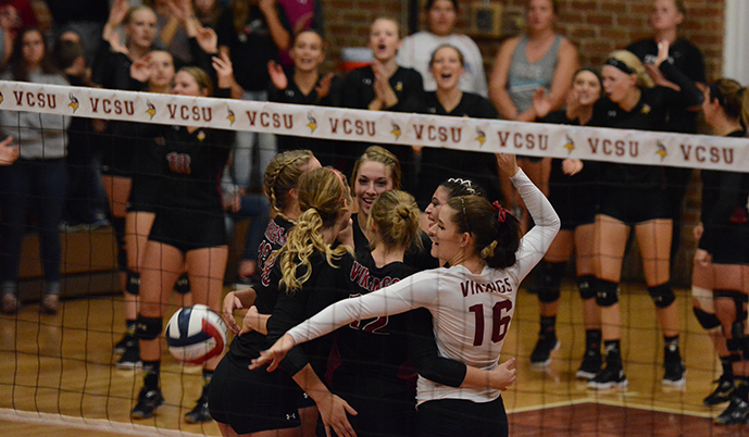 Valley City State celebrates a point Wednesday night against Concordia College. (Spencer Aune/VCSU)